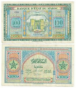 MOROCCO-100-FRANCS-1944-P-27-CIRCULATED-SEE-SCAN-E523