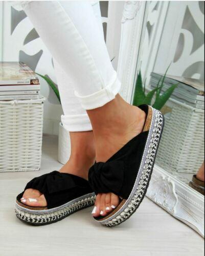 Femme Femmes Semelles Bow curseurs Stud diapositives Espadrille Plates Sandales SZ