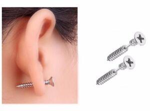 2-PC-16G-1-034-LONG-PHILLIPS-SCREW-SURGICAL-STEEL-CHEATER-BARBELL-PLUG-EAR-EARRINGS