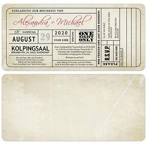 Das Bild Wird Geladen Vintage Einladungskarten Zur Hochzeit Eintrittskarte  Ticket Einladung