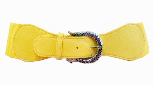 Cintura stretch giallo pelle serpente fibbia in vita Cintura guaine gz-1978