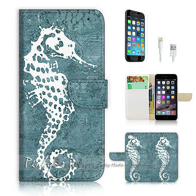 ( For iPhone 6 / 6S ) Wallet Case Cover! Abstract Seahorse P0450