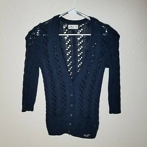 Hollister-Cardigan-M-Sweater-Thick-Open-Knit-Crochet-L-S-Navy-Pockets-Buttons