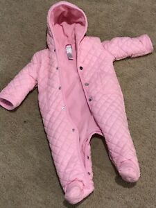 ca8f8f644 Ralph Lauren Pink Baby Bunting Quilted Snowsuit Coat 9 Months Infant ...