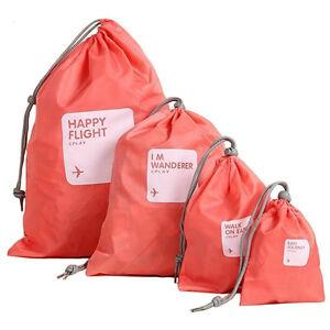 4pcs Outdoor Travel Waterproof Nylon Drawstring Storage Bags Pouch Organizer AQ