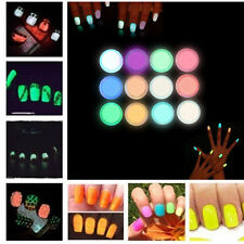 10 Boxes Neon Colors Phosphorescent FLUORESCENT Powder Glow In Dark Nail Art NEW