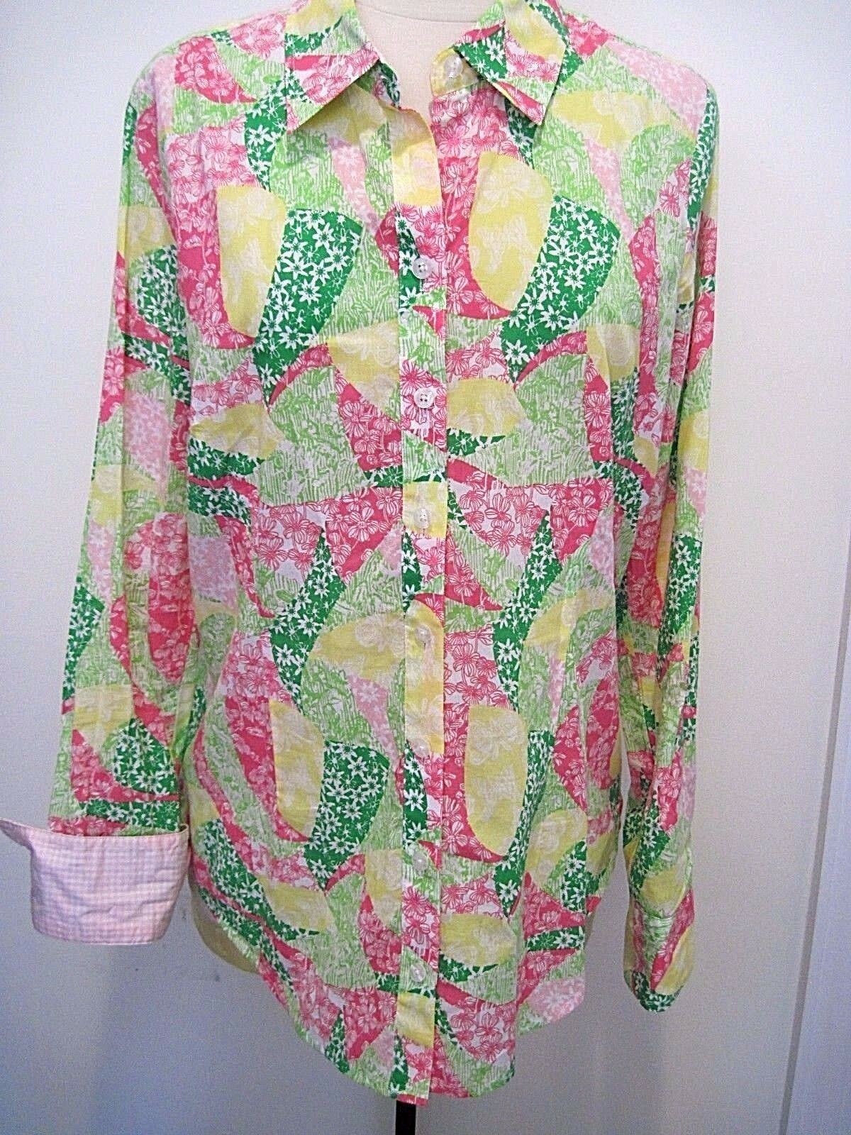 LILLY PULITZER Multicolord Patchwork Design 100% Cotton Button Down Shirt Sz 10