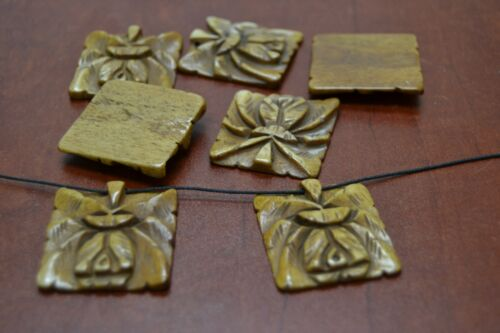 12 PCS CARVED SQUARE BROWN BONE BEADING BEADS #T-2731