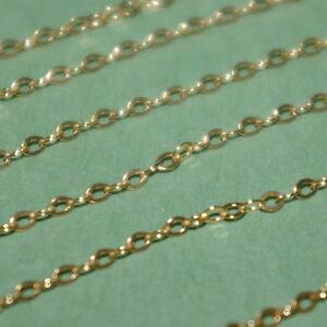 Rationnel 10 Ft (environ 3.05 M) 14kt Gold Filled Fine 1.5x2mm Câble Plat Vrac Chaîne Continue-afficher Le Titre D'origine