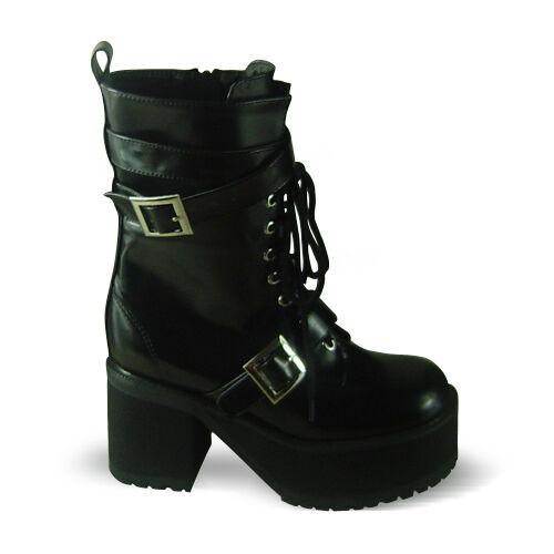 Gothic Schwarz Plateau Boots stiefel Stiefeletten punk Steam Schuhe Rock Damen wE1n6qOE