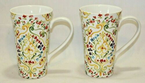 222 Fifth Sarita Green Handled Latte Mugs Set of Two - Multicolor Flowers New