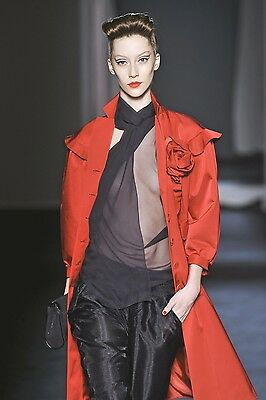 MOSCHINO Red Wool Silk Rosette Ruffle Coat 40 2 4