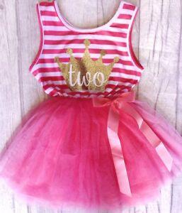 BIRTHDAY-PRINCESS-PARTY-TUTU-Hot-Pink-Sleevless-Gold-Crown-Number-Tutu-Dress