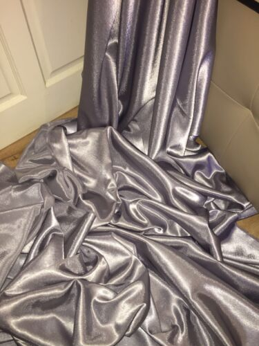 """5 MTR SILVER GREY CREPE BACK LINING SATIN FABRIC...58/"""" WIDE NEW IN STOCK"""