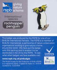 RSPB Pin Badge | Rockhopper Penguin | International Species on GNaH card [00949]