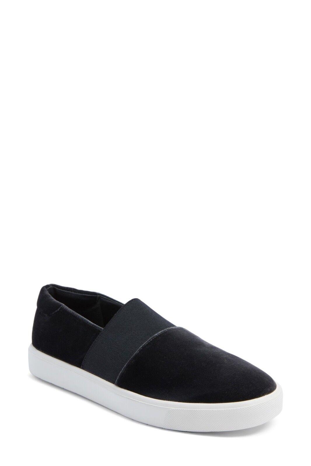 Vince Corbin Pewter Slip On Sneaker Black Velvet Sz 9.5