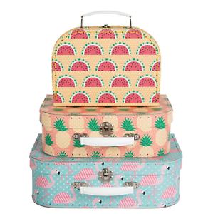 Set of 3 Sass /& Belle Pastel Cactus Suitcases