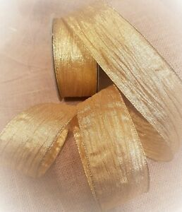 GOLDEN-SWEETIE-WRAPPER-Gold-Creased-Crinkled-Luxury-Wire-Edge-Ribbon-LOW-STOCK