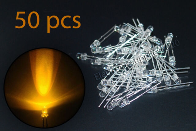 50 x LED 3mm Orange Water Clear Ultra Bright. USA Fast Shipping