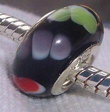 Black Red Green Dots Murano Glass Bead Gift for Silver European Charm Bracelet
