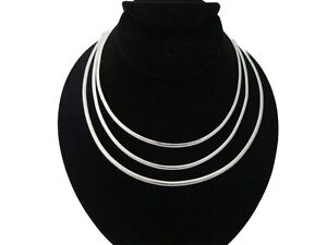 New-In-Fashion-4mm-Silver-Plate-Omega-Choker-Collar-Necklace-16-034-18-034-20-034-CO1-6