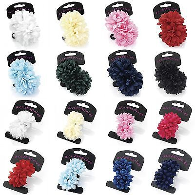 Pair of Small Chrysanthemum Flower Hair Bobbles Donuts Ponios Bands Accessories