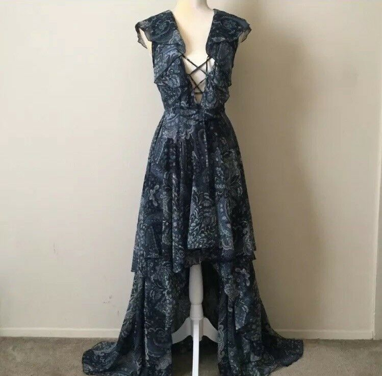 Goddess Ruffle High Low Maxi Dress by Reclaimed Vintage
