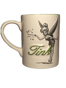 Disney-Parks-Tinkerbell-Coffee-Mug-Cup-Raised-3D-Tink-White-Green-Gray-16oz