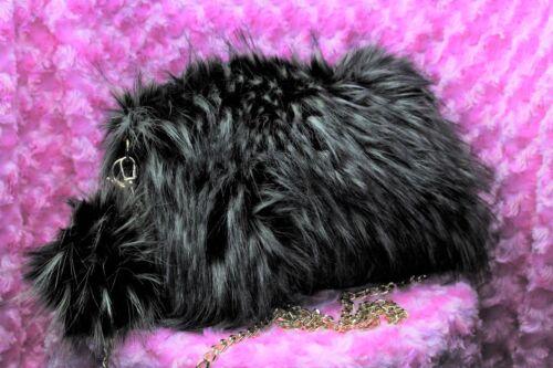 Fashion Fur Handbag with PomPom Keychain Black with Silver Tips Faux Fur Purse