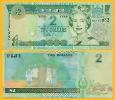 Lot 5 PCS ND P-104 2002 UNC Fiji 2 Dollars