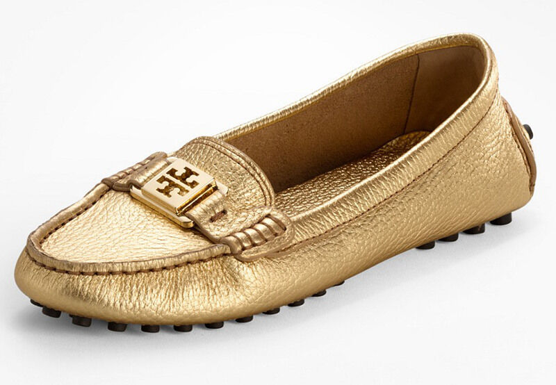 NEW TORY BURCH Kendrick Metallic gold Leather Logo Driving Moccasin Moccasin Moccasin Loafers 9.5 9ccf17