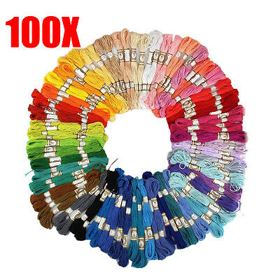 50/100PCS Cross Stitch Cotton Embroidery Thread Floss Sewing Skeins Craft
