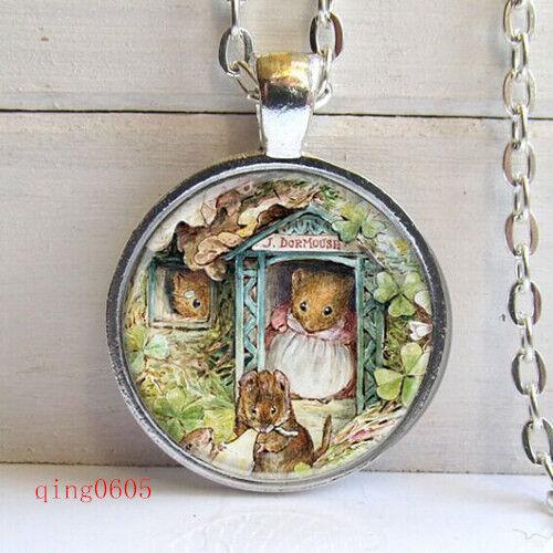 Vintage Mouse Cabochon Tibetan Silver Verre Chaîne Collier Pendentif #33