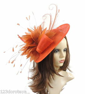 9659c6d8bfd Image is loading Ladies-Large-Sinamay-Ascot-kentucky-Derby-Fascinator-Hat-