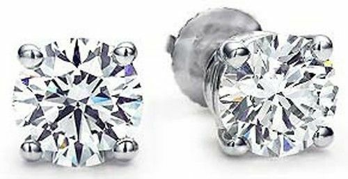 3 carat Round Diamond Ideal cut Studs 14k White gold Earrings GIA G SI1 Excelent