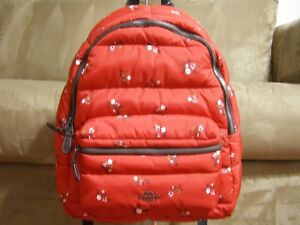 Image is loading Coach-Floral-Puffer-Charlie-Backpack-Red-Multi-NWT- 14621d37d41a8