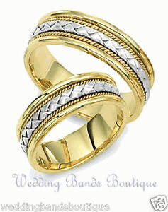 Image Is Loading 14k Two Tone Gold His Hers Matching Wedding