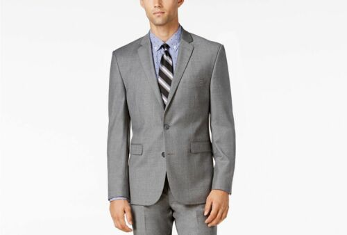 $895 VINCE CAMUTO Men Slim Fit Wool Suit GRAY SOLID JACKET SPORT COAT BLAZER 42S