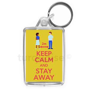 Virus-Keep-Calm-Stay-Away-Social-Distancing-Keyring-Gift-Key-Fob-Medium-Size