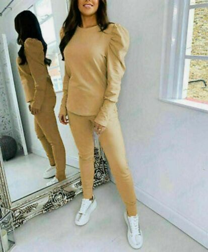 New Ladies Puff Sleeves Top Cuffed Jogging Bottom Loungewear Suit Tracksuit Set