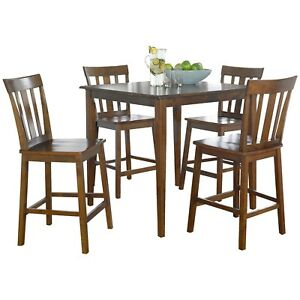 Details About 5pc Cherry Dining Set Counter Height Contemporary 4 Chairs  Square Table Wood New