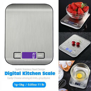 Digital Electronic Kitchen Food Diet Scale Food Weight Balance 11 LB / 5000g