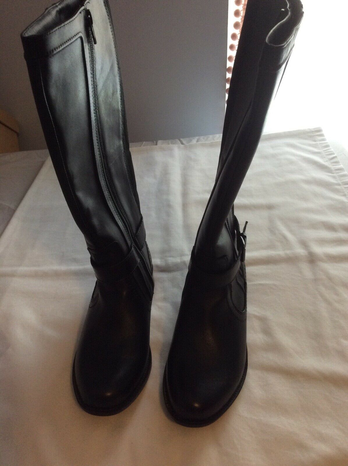Rockport Christy CCP02BK Leather Boots Womens Size 5.5M Black Waterproof New