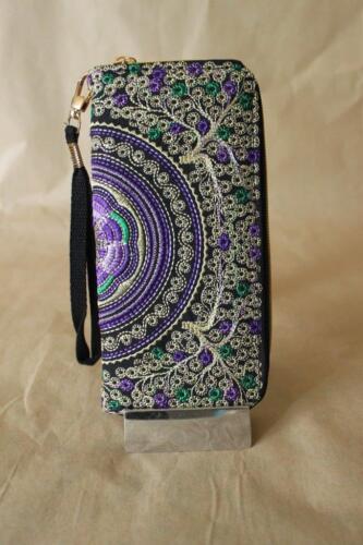 purse  PURPLE clutch Limited Genuine Embroidered Vintage Tribal BOHO wallet