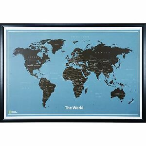 Craig Frames Modern World Push Pin Travel Map with Pins - 24 x 36 | eBay