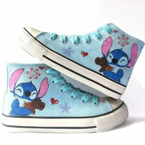 63c8e93d11c17 Details about Lilo and Stitch Pattern Children's Hand-painted Canvas Shoes  Girls Boys Sneaker