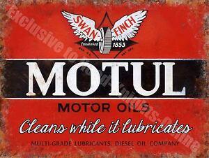 Motul Motor Oil Company 144 Vintage Garage Diesel Old Fuel, Large Metal Tin Sign