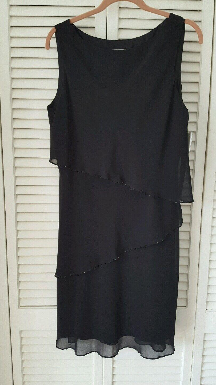 Jones New York dress 12P schwarz sleeveless tier overlay , accent beads NEW