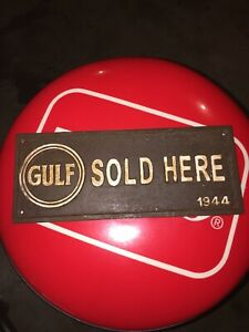 "Gulf Gasoline Solid Metal Cast Iron Patina Plaque Sign 11"" Amoco Shell Sinclair"