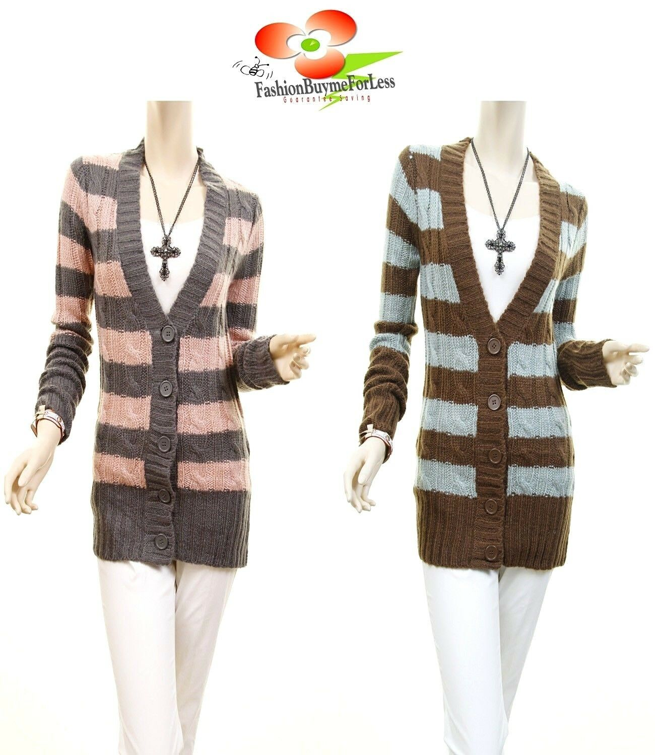 BOHO 70'S RETRO Crochet Knit Fitted Striped Tunic Sweater Cardigan Top S M L NEW